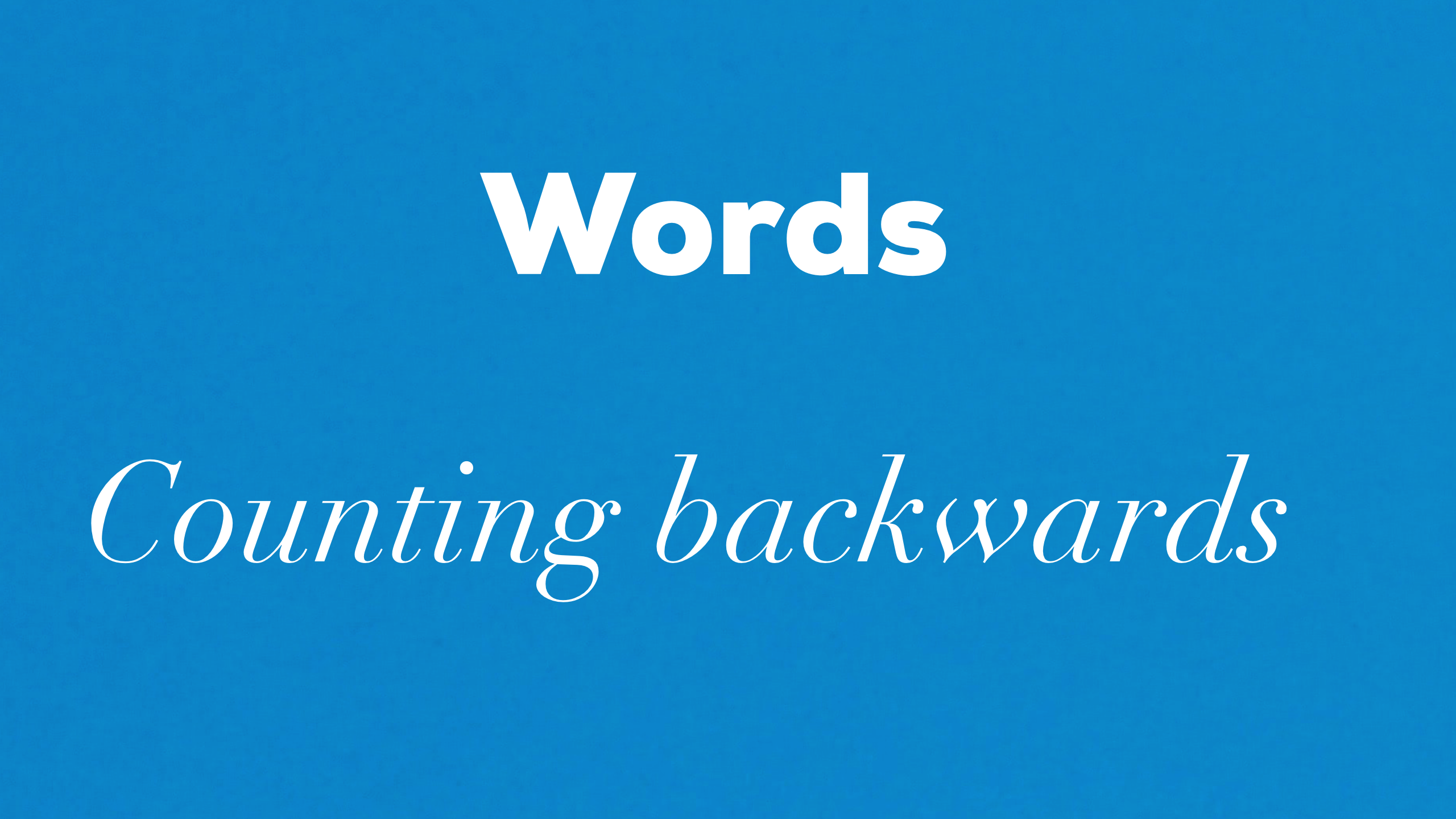 Words Counting backwards